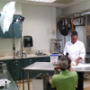 Culinary science student Erika Gray prepares for her food safety video shoot.