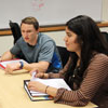 Karen Zamora, far left, a course assistant for statistics, leads a session in TWU's Supplemental Instruction Program.